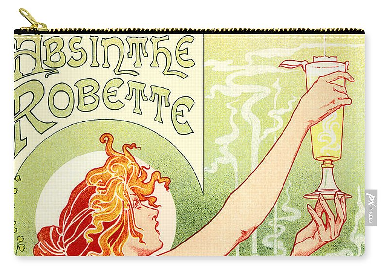Vintage Carry-all Pouch featuring the digital art Vintage Absinthe Robette Poster by Joy McKenzie