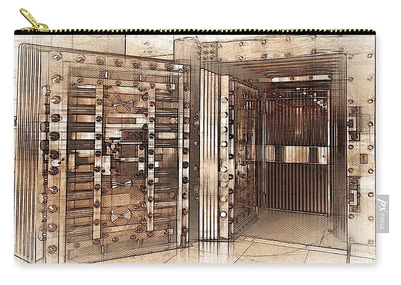 'bank Vaults & Locks' Collection By Serge Averbukh Carry-all Pouch  featuring the - Vintage Bank Vault Door And Lock No. 2 Carry-all Pouch For Sale By