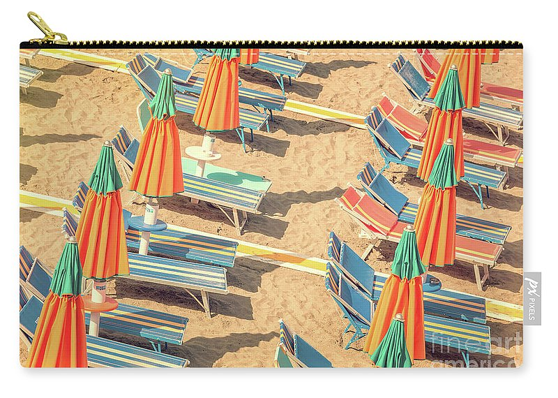 Beach Carry-all Pouch featuring the photograph Vintage Beach by Delphimages Photo Creations