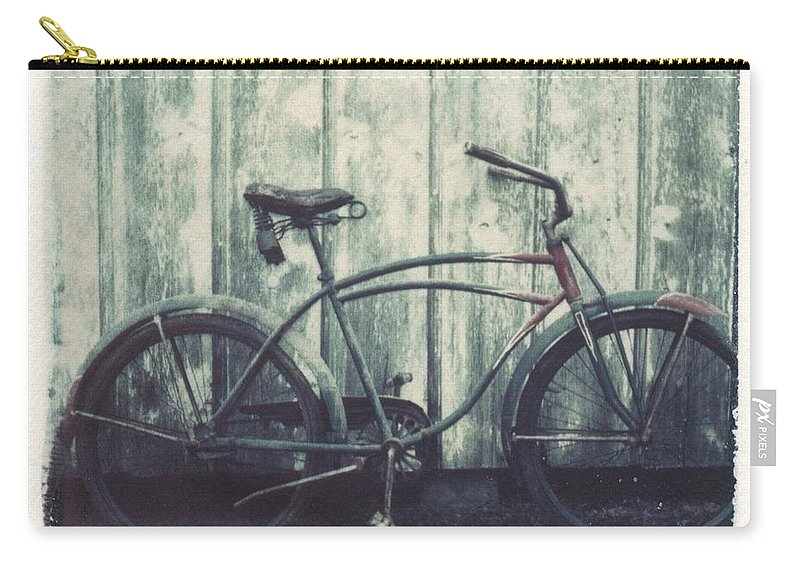 Polaroid Transfer Carry-all Pouch featuring the photograph Vintage Bike Polaroid transfer by Jane Linders