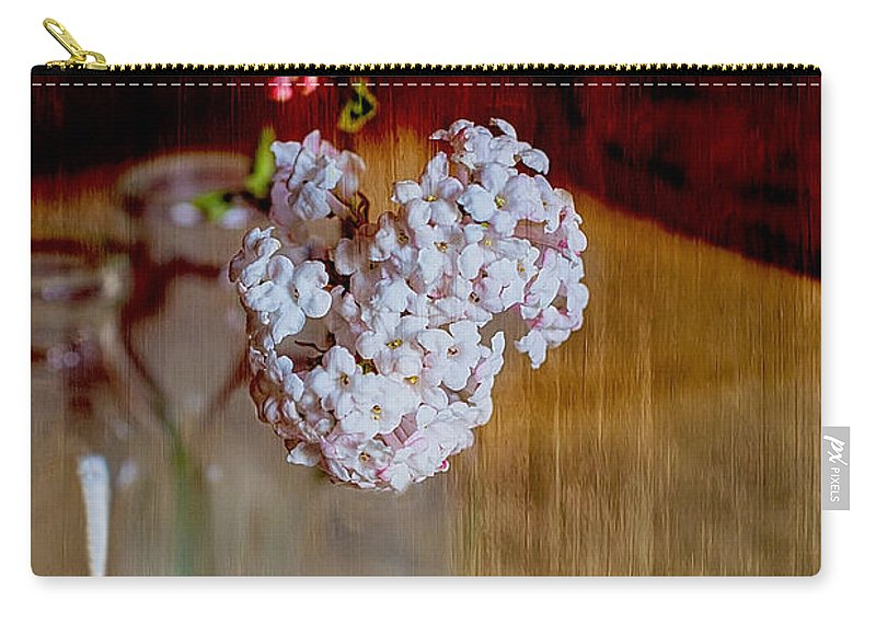 Viburnum Carry-all Pouch featuring the photograph Vintage Bottles With Viburnum Flowers by Guna Andersone