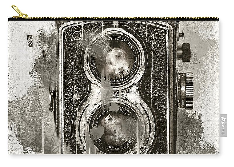 Melissa Smith Carry-all Pouch featuring the mixed media Vintage Camera by Melissa Smith