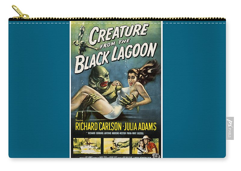 Vintage Carry-all Pouch featuring the digital art Vintage Creature From The Black Lagoon Poster by Joy McKenzie