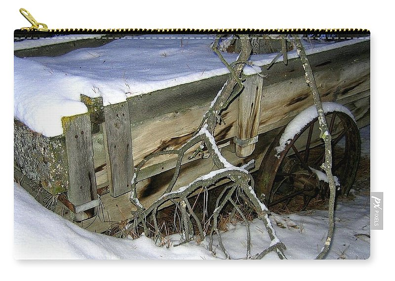 Farm Wagon Carry-all Pouch featuring the photograph Vintage Farm Wagon by Will Borden
