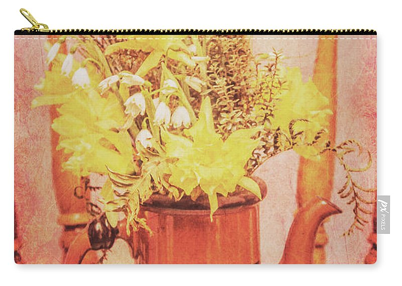 Aged Carry-all Pouch featuring the photograph Vintage Fine Art Still Life With Daffodils by Jorgo Photography - Wall Art Gallery