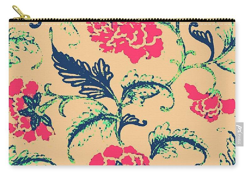 Vintage Design Carry-all Pouch featuring the digital art Vintage Flower Design by Berklane Designs