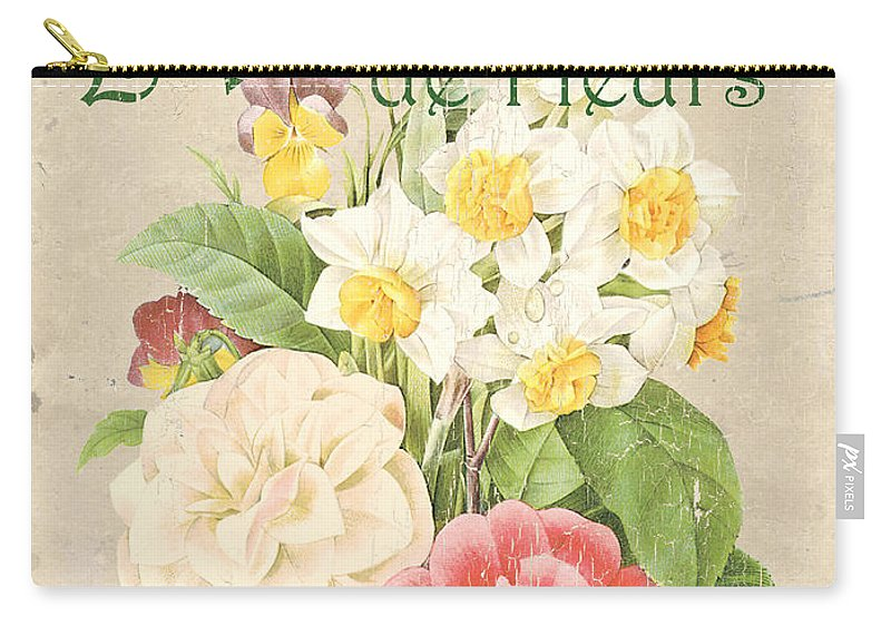 Floral Carry-all Pouch featuring the painting Vintage French Flower Shop 1 by Debbie DeWitt