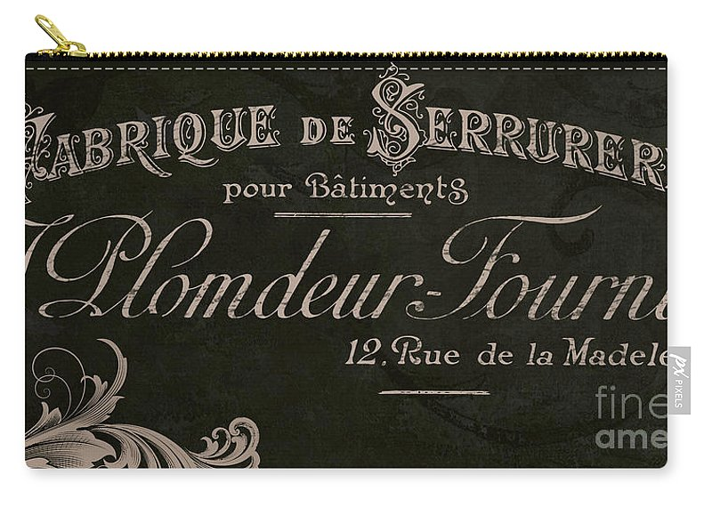 Vintage Carry-all Pouch featuring the painting Vintage French Typography Sign by Mindy Sommers