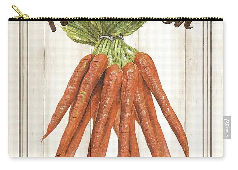 Carrots Carry-all Pouch featuring the painting Vintage Fresh Vegetables 3 by Debbie DeWitt