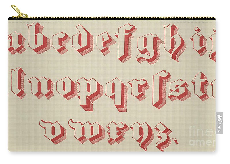 Gothic Carry-all Pouch featuring the drawing Vintage Gothic Font Red by English School