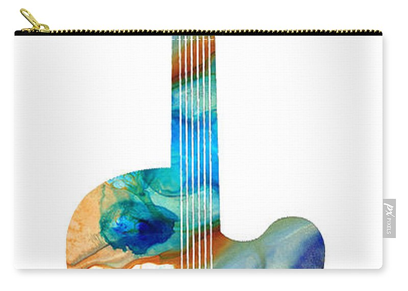 Guitar Carry-all Pouch featuring the painting Vintage Guitar - Colorful Abstract Musical Instrument by Sharon Cummings