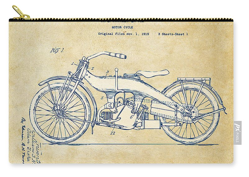 Harley-davidson Carry-all Pouch featuring the digital art Vintage Harley-davidson Motorcycle 1924 Patent Artwork by Nikki Smith
