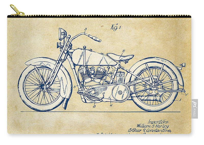 Harley-davidson Carry-all Pouch featuring the digital art Vintage Harley-davidson Motorcycle 1928 Patent Artwork by Nikki Smith