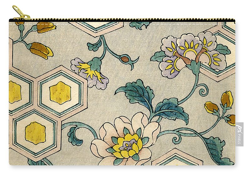 Japanese Carry-all Pouch featuring the painting Vintage Japanese illustration of blossoms on a honeycomb background by Japanese School