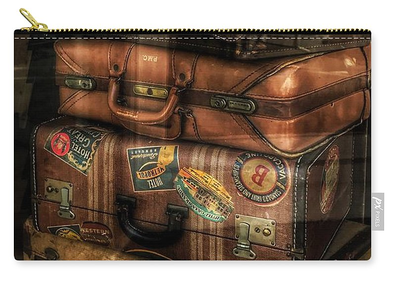 Vintage Luggage In Shop Window Carry-all Pouch featuring the photograph Vintage Luggage In Shop Window by Jane Maurer