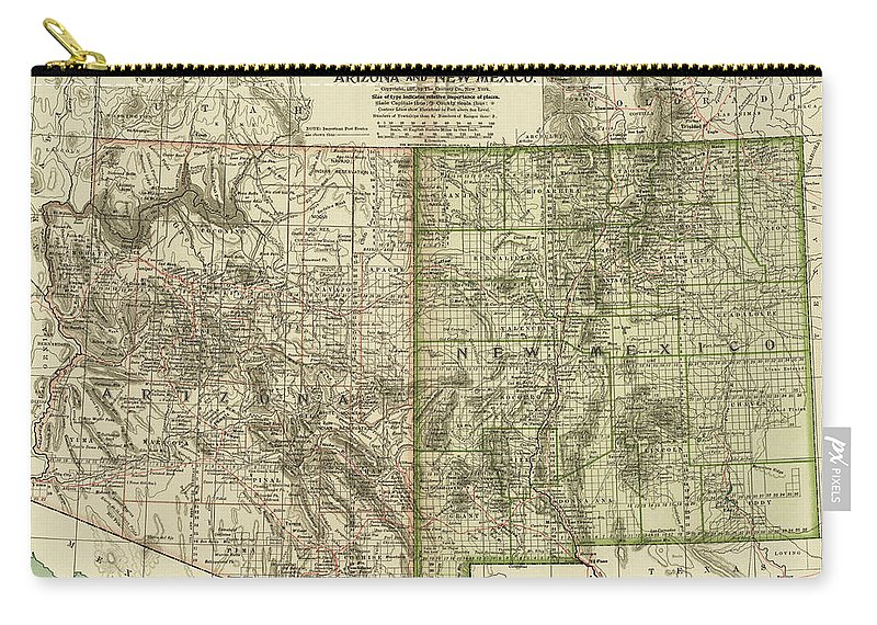 Vintage Map Of Arizona And New Mexico - 1899 Carry-all Pouch for ...