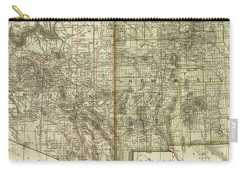 Vintage Map Of Arizona And New Mexico - 1899 Carry-all Pouch