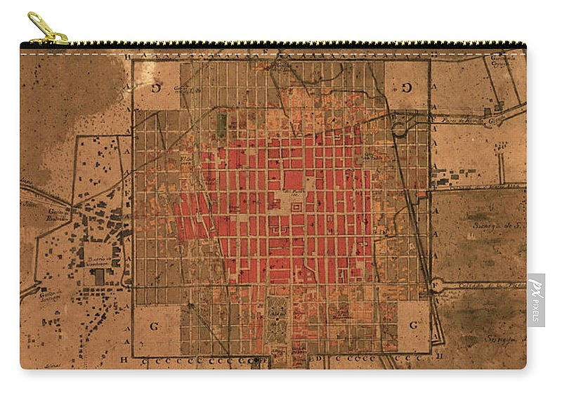 Vintage Map Of Mexico City Mexico - 1800 Carry-all Pouch for Sale by ...