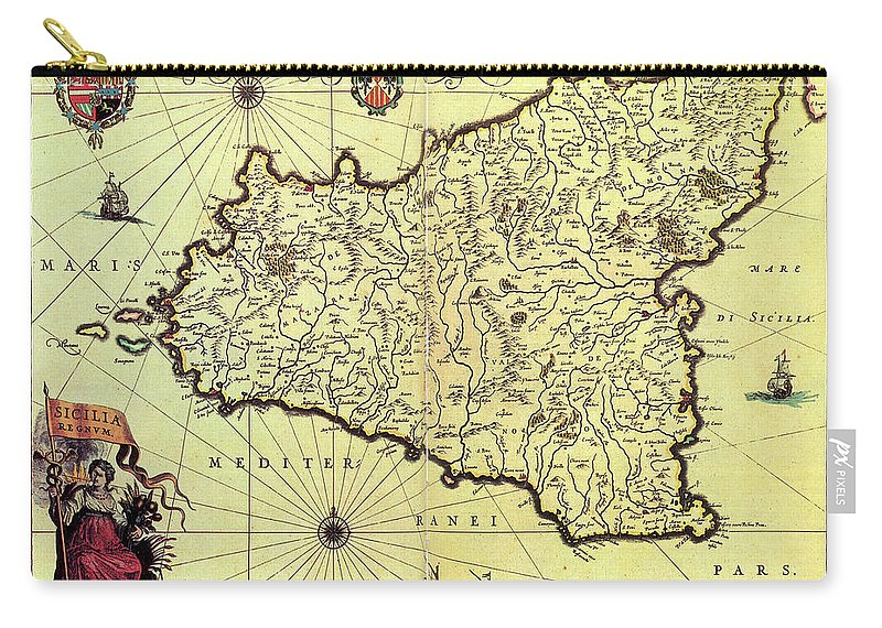 Vintage Map Of Sicily Italy - 1600s Carry-all Pouch