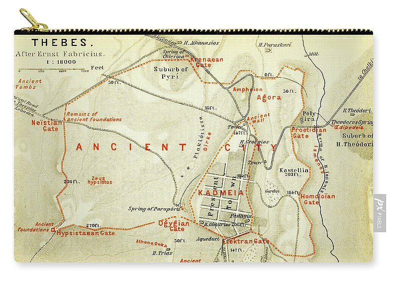 Vintage Map Of Thebes Egypt - 1894 Carry-all Pouch for Sale by ... on