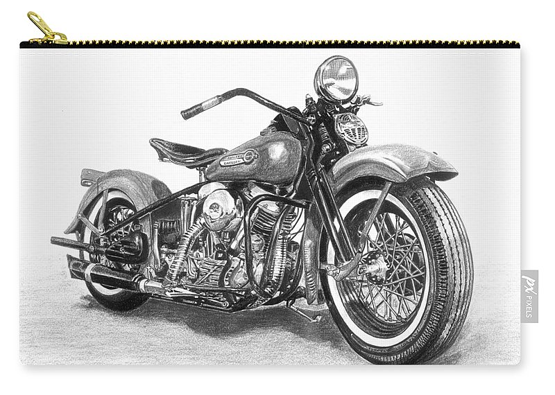 Drawing Drawings Carry-all Pouch featuring the drawing Vintage Panhead by Francois Michaud