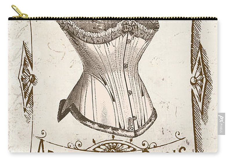 Vintage French Corsette Label Carry-all Pouch featuring the painting Vintage Paris Corsette Sign by Mindy Sommers