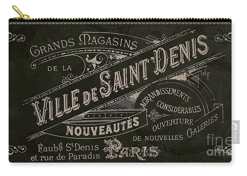 Vintage Paris Carry-all Pouch featuring the painting Vintage Paris Sign by Mindy Sommers
