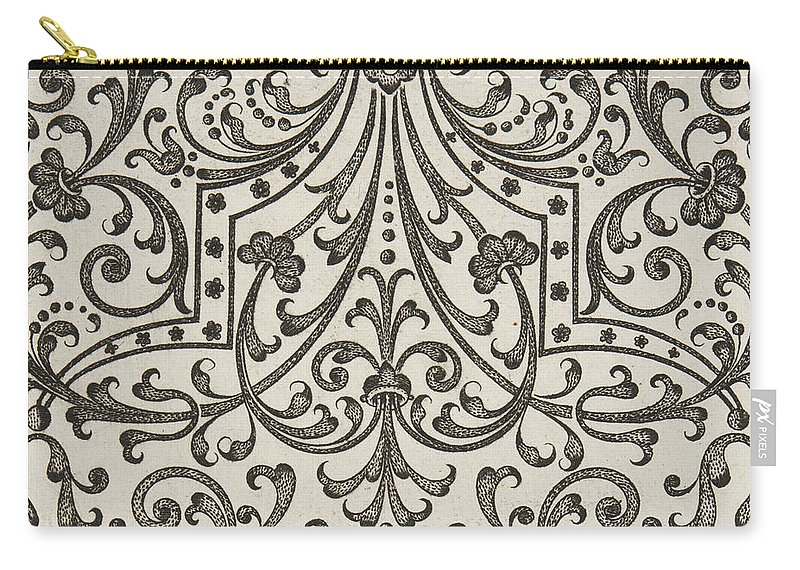 Vintage Carry-all Pouch featuring the drawing Vintage Parterre Design by Jacques Mollet