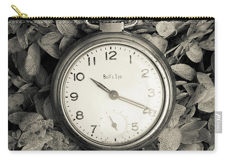 Still Life Carry-all Pouch featuring the photograph Vintage Pocket Watch Over Flowers by Edward Fielding