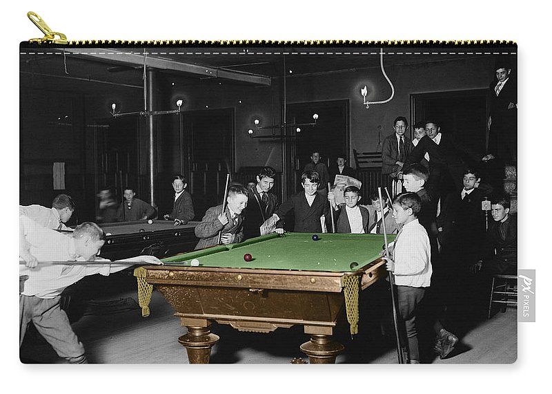 Pool Hall Carry-all Pouch featuring the photograph Vintage Pool Hall by Andrew Fare