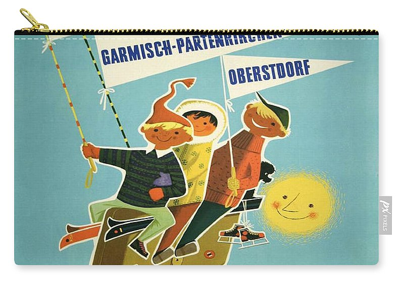 Vintage Poster Carry-all Pouch featuring the painting Vintage Poster - Bavarian Alps by Vintage Images