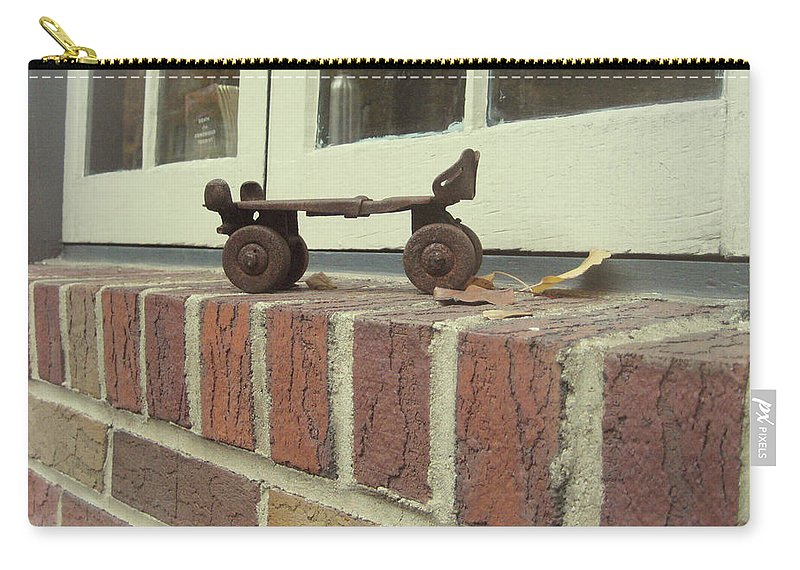 Brick Carry-all Pouch featuring the photograph Vintage Roller Skate by JAMART Photography
