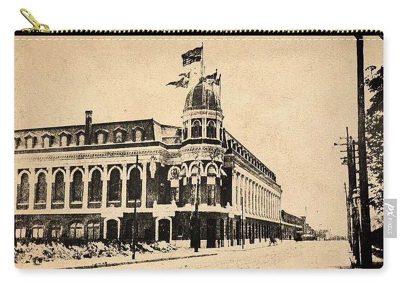 Shibe Carry-all Pouch featuring the photograph Vintage Shibe Park In Sepia by Bill Cannon