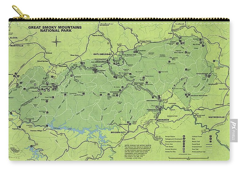Vintage Smoky Mountains National Park Map Carry-all Pouch for Sale ...