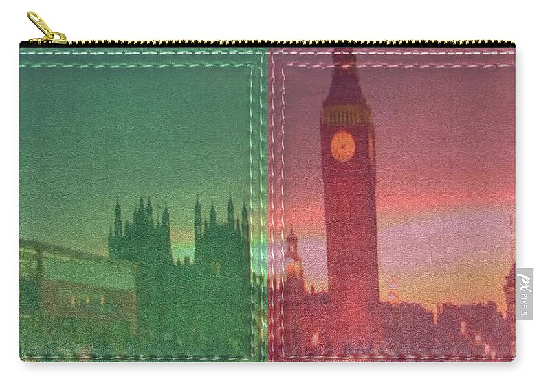 Vintage Style Carry-all Pouch featuring the mixed media Vintage Style Wall Decorations London Clock Tower And Double Deckker Bus by Navin Joshi