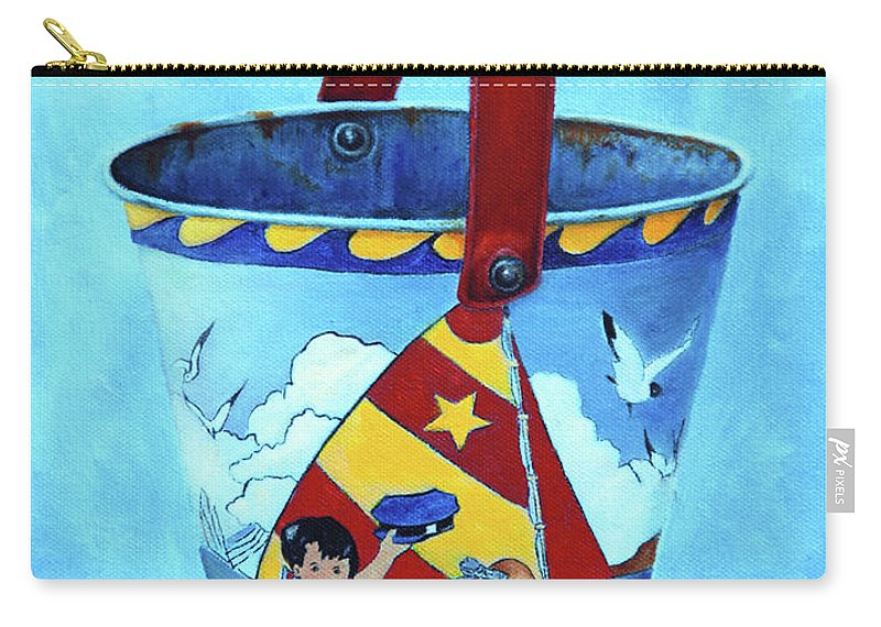 Vintage Carry-all Pouch featuring the painting Vintage Tin Sand Bucket by Portraits By NC