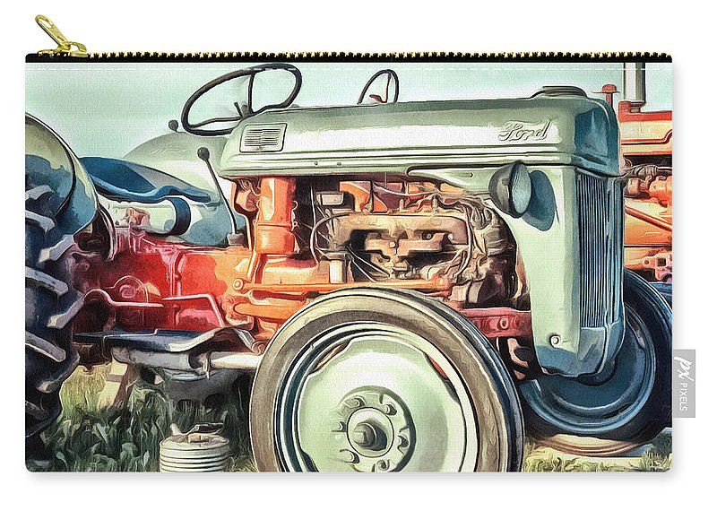 Painting Carry-all Pouch featuring the painting Vintage Tractors PEI Square by Edward Fielding