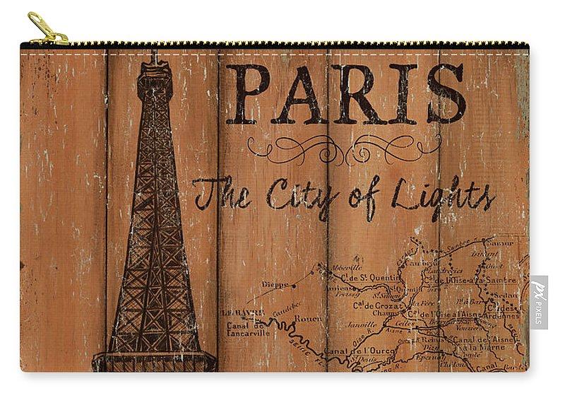 Paris Carry-all Pouch featuring the painting Vintage Travel Paris by Debbie DeWitt