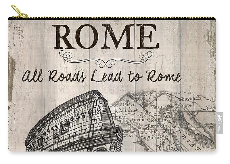 Rome Carry-all Pouch featuring the painting Vintage Travel Poster by Debbie DeWitt