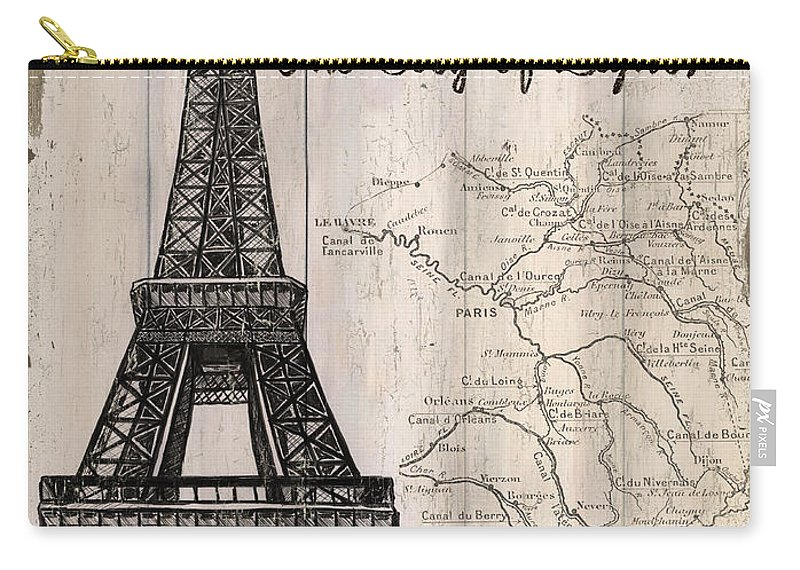 Paris Carry-all Pouch featuring the painting Vintage Travel Poster Paris by Debbie DeWitt