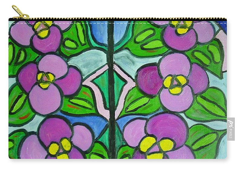 Violets Carry-all Pouch featuring the painting Vintage Violets by Laurie Morgan