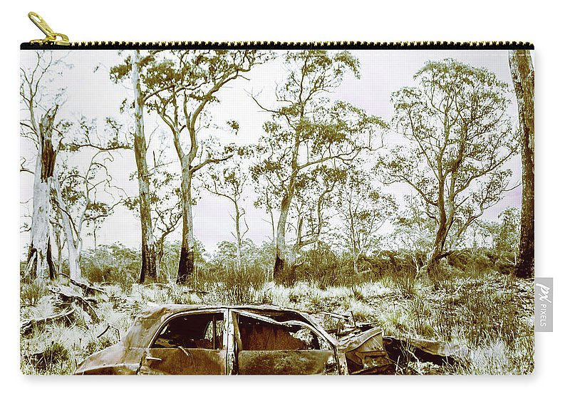 Tasmania Carry-all Pouch featuring the photograph Vintage Winter Car Wreck by Jorgo Photography - Wall Art Gallery