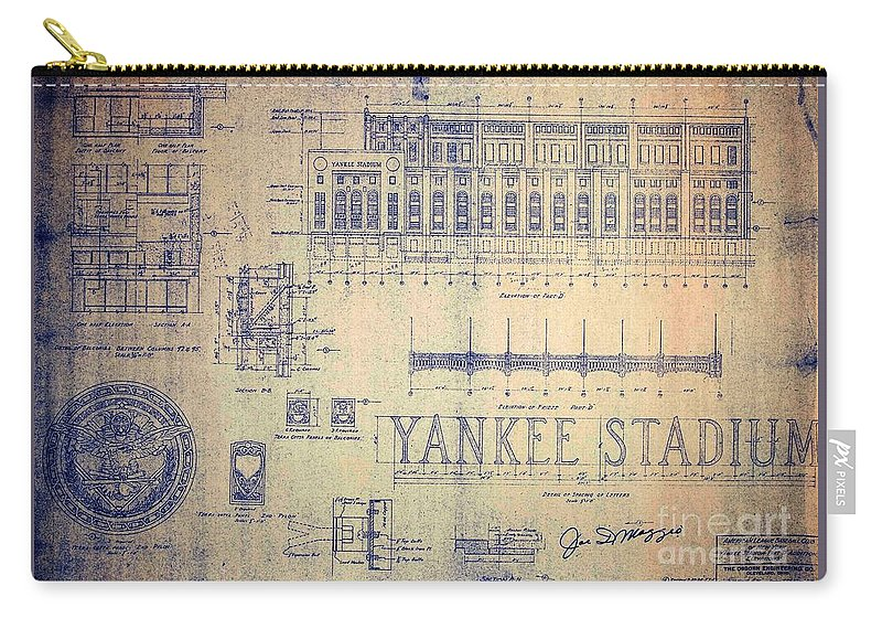 Joe Dimaggio Carry-all Pouch featuring the drawing Vintage Yankee Stadium Blueprint by Peter Ogden Gallery