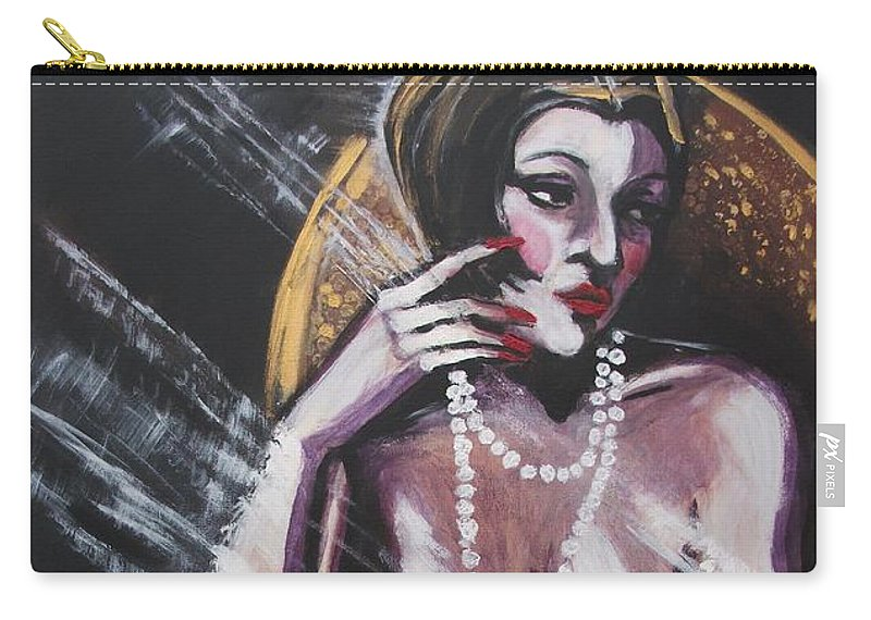 Original Carry-all Pouch featuring the painting Vintage Years - White Pearls by Carmen Tyrrell