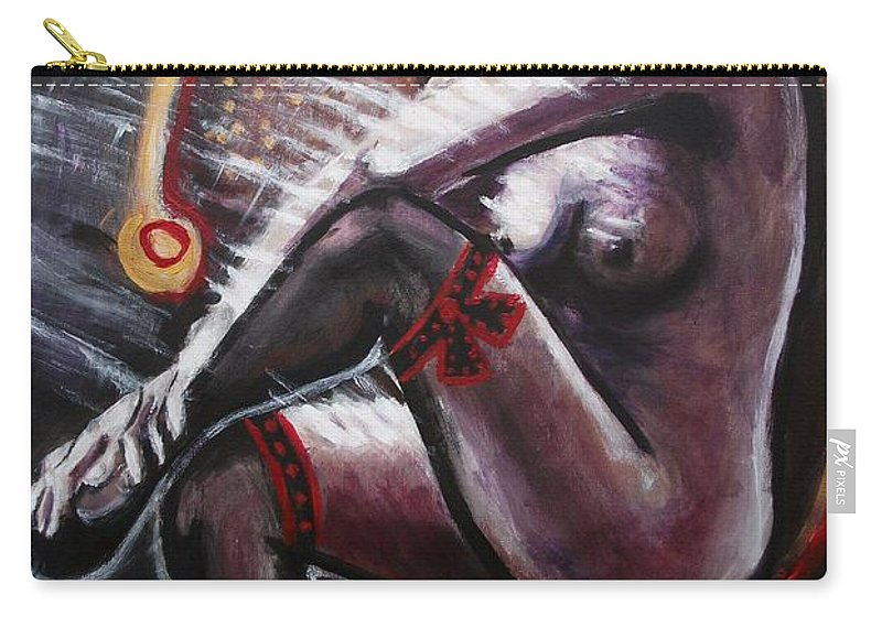 Original Carry-all Pouch featuring the painting Vintage Years-black Stockings by Carmen Tyrrell