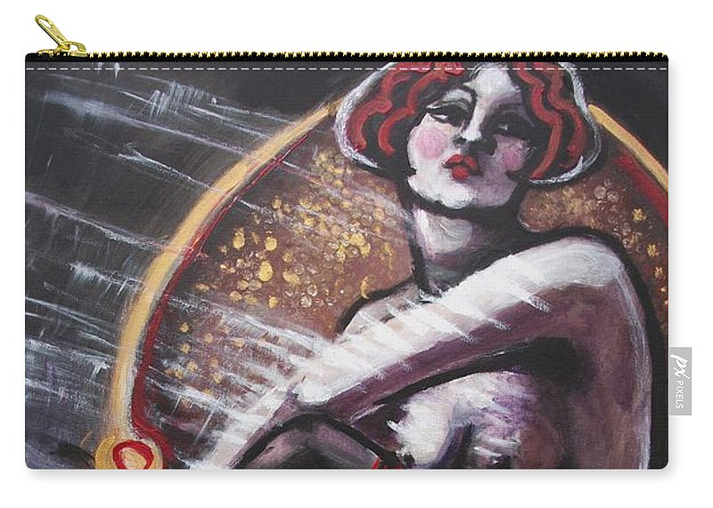 Original Carry-all Pouch featuring the painting Vintage Years - Black Stockings by Carmen Tyrrell