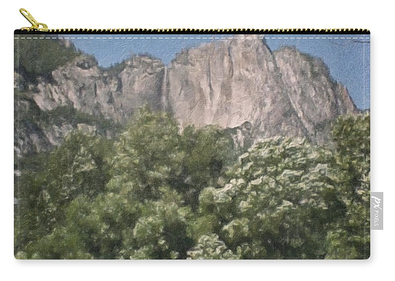 Landscape Carry-all Pouch featuring the painting Vintage Yosemite by Teresa Mucha