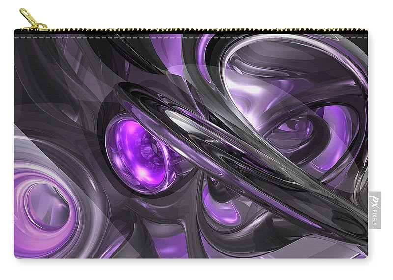 3d Carry-all Pouch featuring the digital art Violaceous Abstract by Alexander Butler
