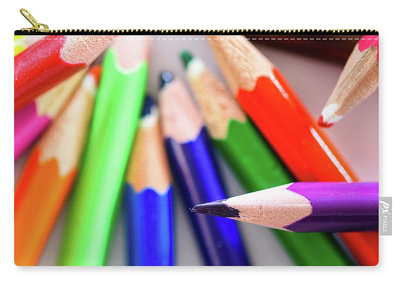 Background Carry-all Pouch featuring the photograph Violet. Colored Pencils by Nicola Simeoni