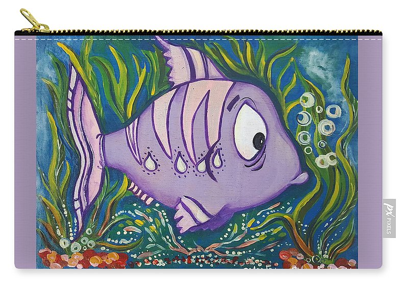 Fish Carry-all Pouch featuring the painting Violet Fish by Rita Fetisov